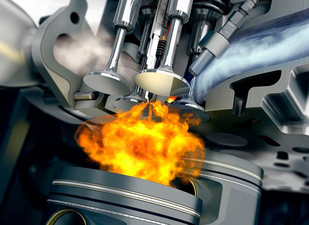 En los motores diésel la mezcla de aire y combustible arde debido a las elevadas presiones y temperaturas que hay en el cilindro.